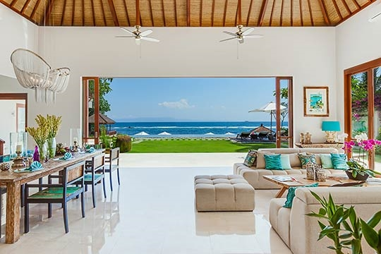 View of the ocean across the lounge